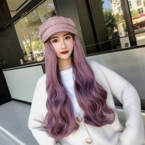 Fashion Berets Hat with Wig